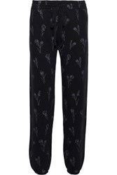 Current Elliott The Collegiate Floral Print French Cotton Terry Track Pants Navy