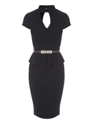 Jane Norman Peplum Choker Dress Black