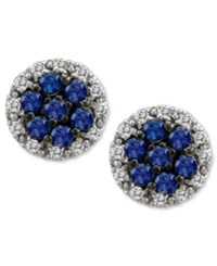 Le Vian Sapphire 5 8 Ct. T.W. And Diamond 1 4 Ct. T.W. Round Stud Earrings In 14K White Gold Blue