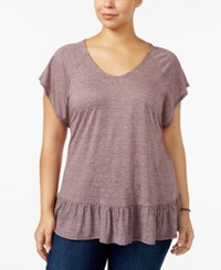 Style And Co Plus Size Flutter Sleeve Peplum Top Only At Macy's Berry