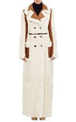 Chloe Shearling Reversible Double Breasted Long Coat Nude
