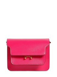 Marni Mini Trunk Saffiano Leather Shoulder Bag Fuchsia