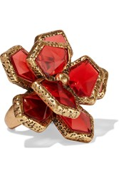 Oscar De La Renta Wild Flower Gold Plated Resin Ring