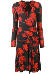 Roberto Cavalli Printed V Neck Dress Black
