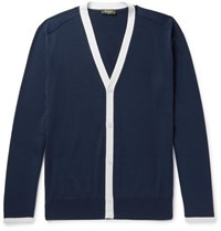 Berluti Contrast Trimmed Silk And Cotton Blend Cardigan Blue