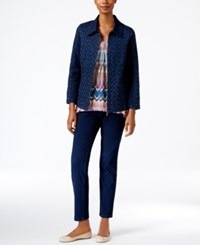 Alfred Dunner Petite Sierra Madre Patterned Denim Jacket