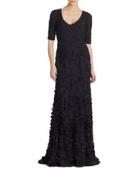 Theia Petal Elbow Sleeve Gown Midnight