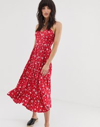 Band Of Gypsies Button Front Tiered Midaxi Dress In Pink Floral Print