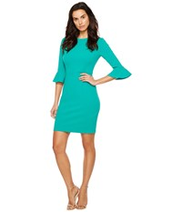 Donna Morgan 3 4 Bell Sleeve Sheath Dress Peacock Teal Women's Dress Blue