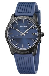 Calvin Klein Evidence Silicone Band Watch 42Mm Blue Black