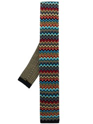 Missoni Knitted Patterned Tie Yellow
