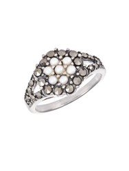 Lord And Taylor Faux Pearl Rhinestone Ring Pearl Silver