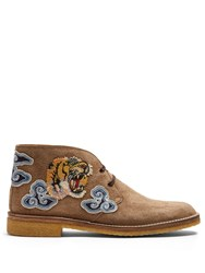 Gucci New Moreau Embroidered Suede Desert Boots Camel