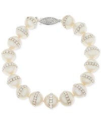 Macy's Cultured Freshwater Pearl 9.5Mm And Crystal Bracelet White