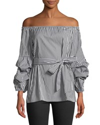 5Twelve Off The Shoulder Balloon Sleeve Blouse White Pattern