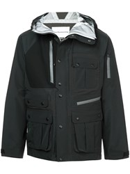 White Mountaineering Buttoned Hooded Jacket Black