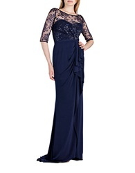 Js Boutique Metallic Lace Bodice Gown Navy