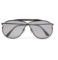 Tom Ford Aviator Style Horn Trimmed Titanium Photochromic Sunglasses Black