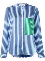 Ports 1961 Contrast Patch Striped Cape Sleeve Shirt Women Silk Cotton Polyester 40 Blue