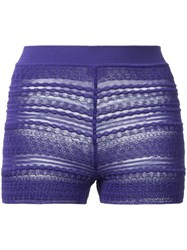 Missoni Sheer Detail Knitted Shorts Pink Purple