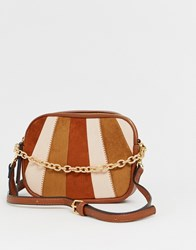 Stradivarius Striped Panel Square Mini Cross Body In Multi