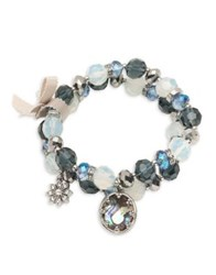 Lonna And Lilly Faceted Double Row Charm Bracelet Silver