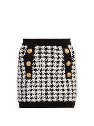 Balmain Houndstooth Mini Skirt Black White