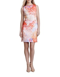 Julia Jordan Abstract Print Sheath Dress Coral Multi