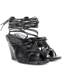 Rick Owens Tangle Leather Wedge Sandals Black