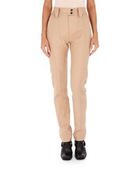 Atlein High Waist Slim Straight Leg Cotton Pants Beige