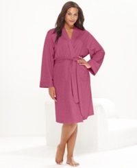 Charter Club Plus Size French Terry Kimono Robe Petal Pink