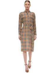 Burberry Check Print Silk Shirt Dress Archive Beige