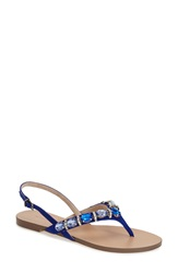 Menbur 'Urbain' Crystal Embellished Thong Sandal Women Navy Leather