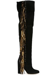 Brian Atwood Frayed Boots Black