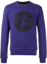 Versace Medusa Leather Detail Sweatshirt Blue