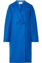 Harris Wharf London Oversized Double Breasted Wool Felt Coat Blue