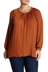 14Th And Union Peasant Blouse Plus Size Rust Bisque