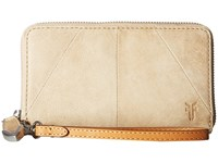 Frye Jacqui Phone Wallet Sand Smooth Pull Up Wallet Handbags Beige