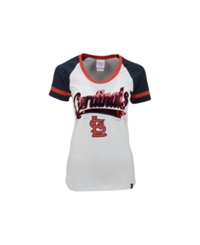 5Th And Ocean Women's St. Louis Cardinals Athletic Foil T Shirt White Red