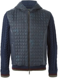 Etro Cable Knit Panelled Jacket Blue