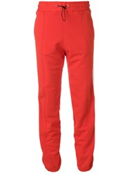 Msgm Side Stripe Track Pants Cotton Red