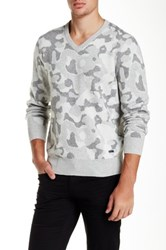 Dkny V Neck Camo Knit Sweater Gray