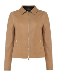 Replay Classic Collar Leather Jacket Brown