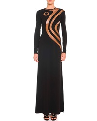 Emilio Pucci Silk Cady Gown With Swirly Sheer Insets 38 It 2 Us