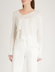 Isabel Benenato Asymmetric Patch Knitted Top Milk