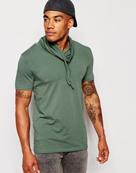 Asos Muscle Fit T Shirt With Cowl Neck And Stretch Thyme