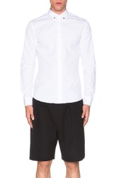 Givenchy Silver Star Contrast Collar Shirt In White