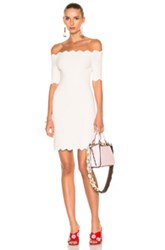 Fendi Off The Shoulder Mini Dress In Pink White Pink White