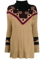 Etro Rollneck Cable Knit Sweater Neutrals