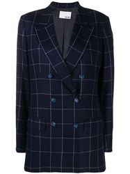 Each X Other Checked Oversized Blazer Blue